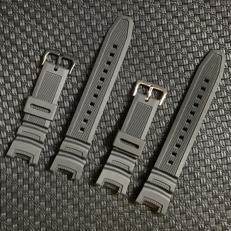 黑色矽膠錶帶錶帶適用於卡西歐 SGW-100 SGW100 21MM 男士女士橡膠運動防水替換錶帶