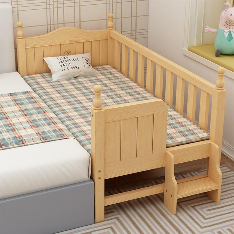 實木兒童床帶護欄男孩女孩加寬床邊床ikea 嬰兒床小床拼接大床廠家直銷