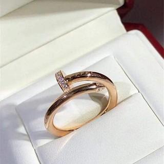 熱賣款 Cartier 卡地亞 釘子戒指 18K玫瑰金鈦鋼戒指 鑲鑽 情侶款 明星示範款 男女潮男少女款 禮物款