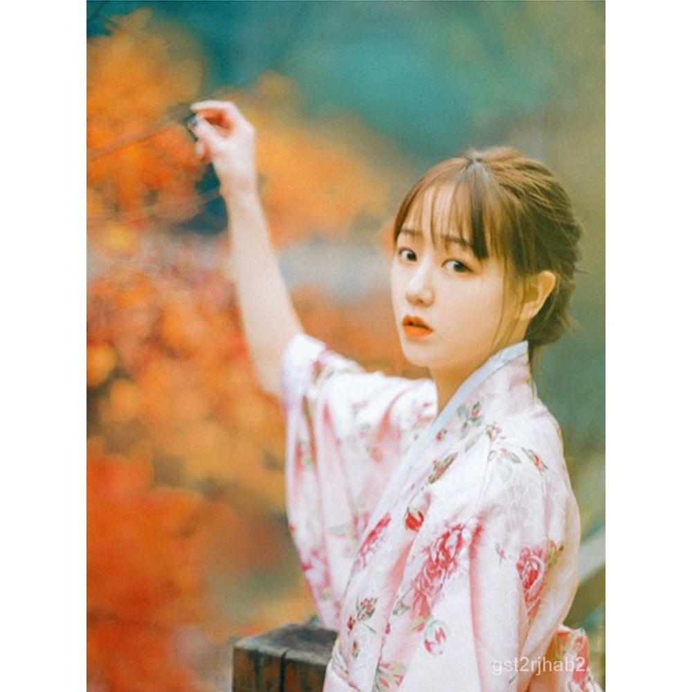 日本服裝正裝傳統改良女士櫻花和服女裝長款睡袍浴寫真演出服倩倩雜貨商城