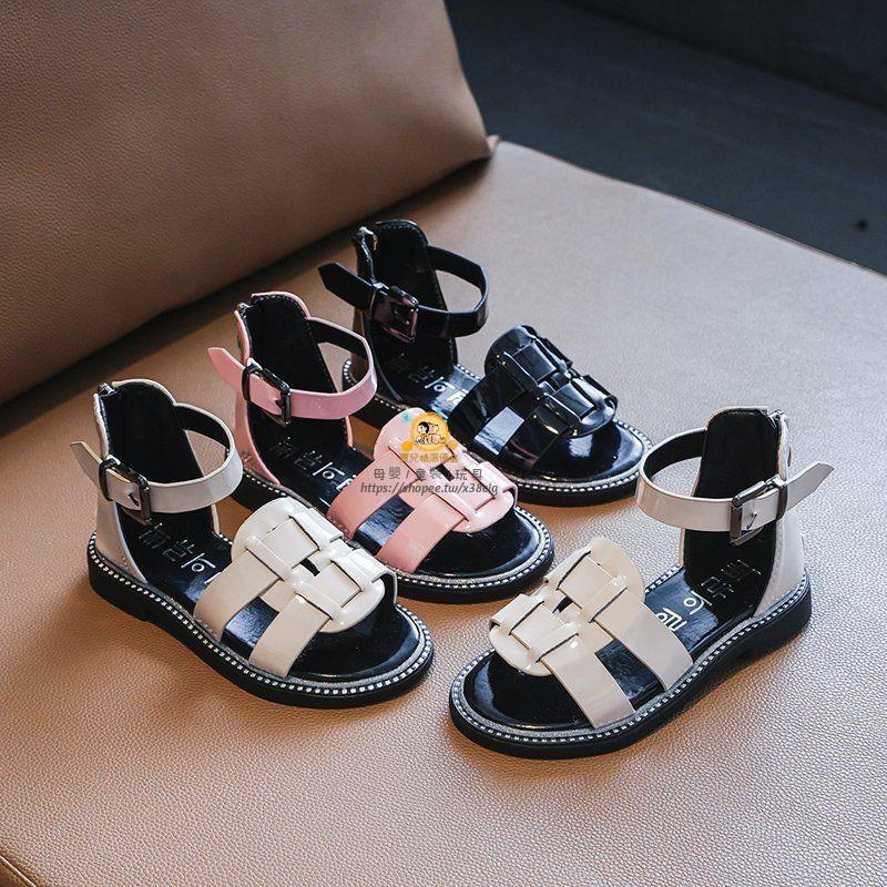 【新品】女童涼鞋2021夏季新款百搭羅馬露趾公主洋氣涼鞋休閑中大童女涼鞋-寶兒精選優品