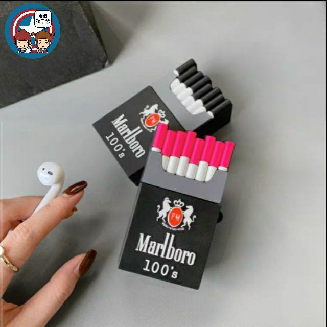 ❤個性煙盒AirPods耳機保護套1/2代無線藍牙防摔盒矽膠創意