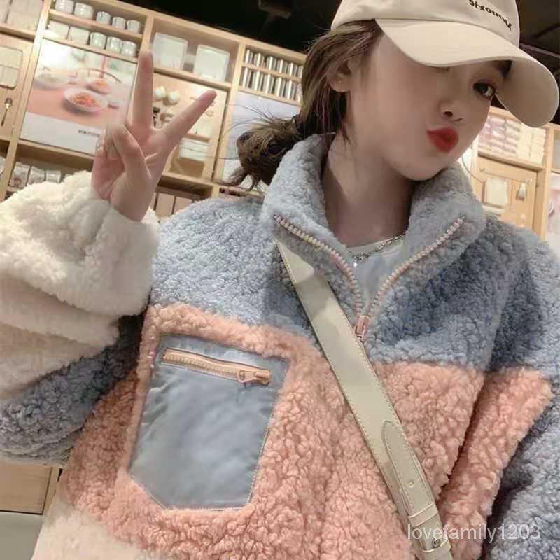 上衣羊毛羔短款新款寬鬆女裝女百搭AHY 冬外套2020加厚拼接韓版潮