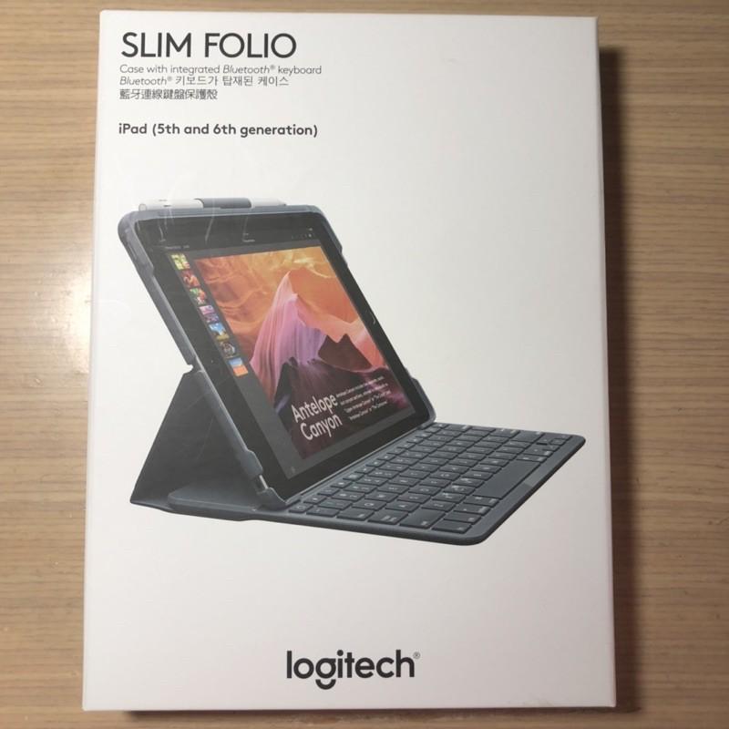 二手 Logitech SLIM FOLIO iPad (5代, 6代) 英文鍵盤 藍芽鍵盤