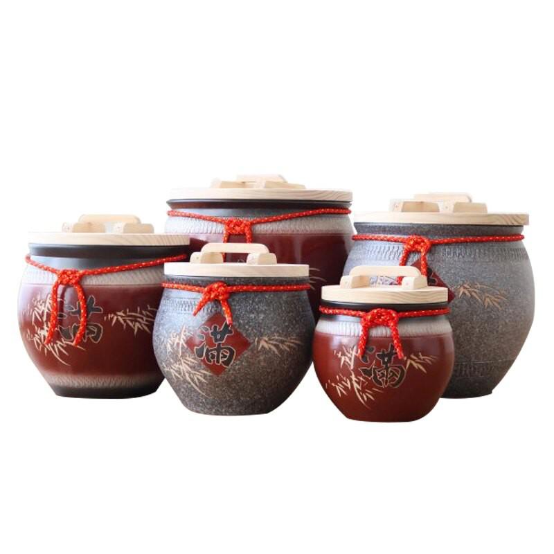 招財陶瓷米甕米桶米箱5/10/20/30/50台斤陶瓷米缸穀物罐茶罐-大廚師百貨