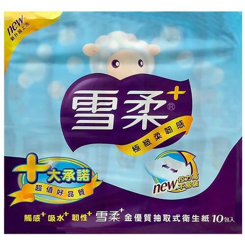 雪柔金優質抽取式衛生紙90抽x10包/串