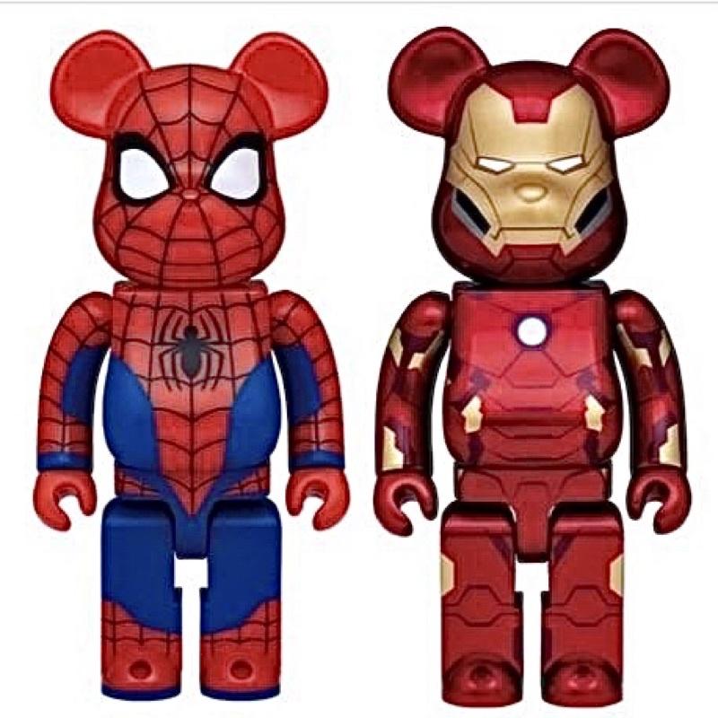 「台北現貨歡迎自取」Be@rbrick 鋼鐵人 蜘蛛人 400% bearbrick 庫柏力克熊 Marvel 漫威週邊