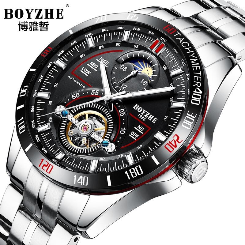 BOYZHE品牌手錶時尚商務男士手錶大日曆機械表陀飛輪手錶WL019