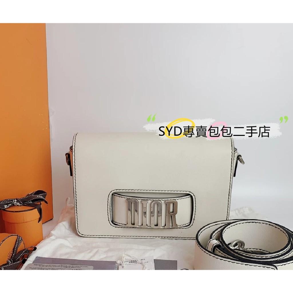SYD二手 Dior迪奧 JADIOR金屬字母 鏈條包 白色翻蓋牛皮 單肩斜跨手拿女包 B5082 現貨