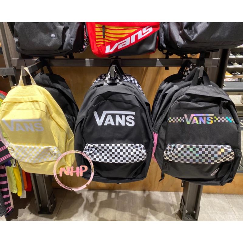 Vans 中性款 棋盤格子 logo 黑白鵝黃銀色鐳射 後背包 書包 百搭經典