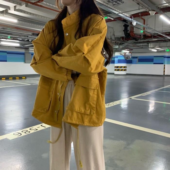 工裝外套女秋季新款韓版寬鬆bf法式復古港風chic炸街長袖上衣