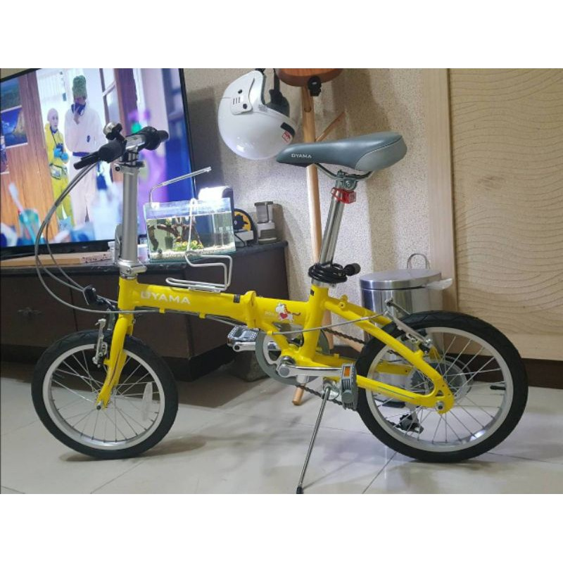 全新™OYAMA 黃色 神馬 MINI 16吋 小朋友 青少年 鋁合金折疊車 日本6段變速 獨家人體工學