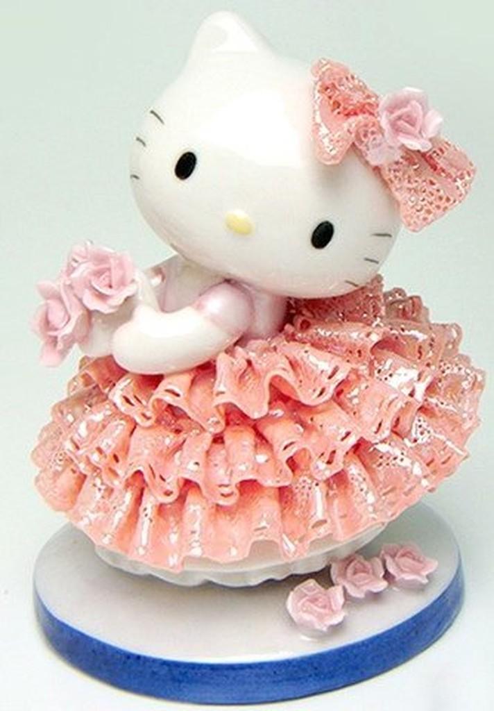 ㊣五號倉庫㊣ 2012年 Sanrio Hello Kitty 手工製作 陶瓷娃娃 (粉紅) Made in Japan