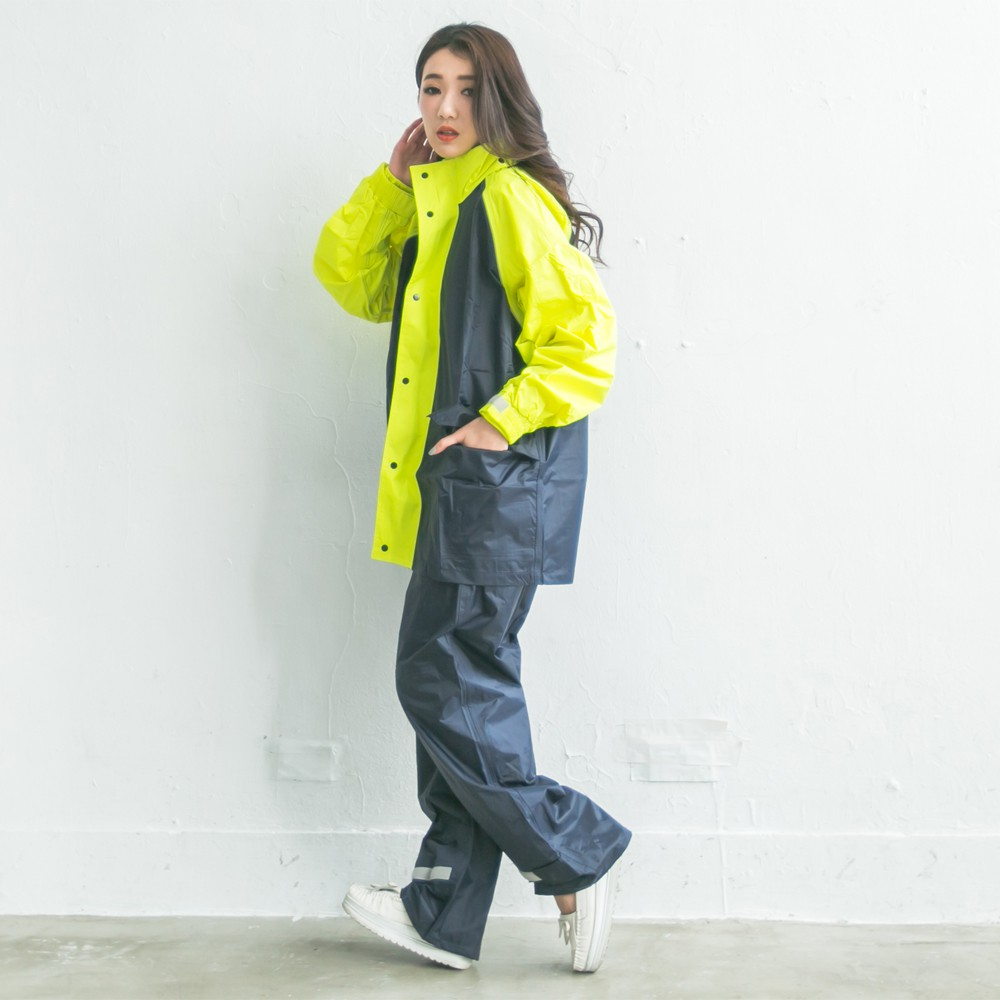 BrightDay風動兩件式風雨衣-深藍/螢光綠