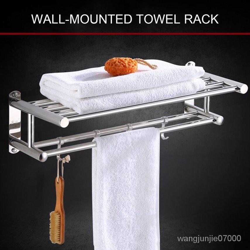 XII 60CM 衛生間304不銹鋼加厚毛巾架廁所壁掛摺疊浴巾架衛浴免打孔置物架 壁掛式 洗手間收納架 WvyH