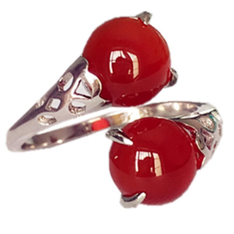 🌈【現貨】限時秒殺⚡天然紅玉髓寶石戒指S925純銀女時尚個性瑪瑙食指指環本命年禮物
