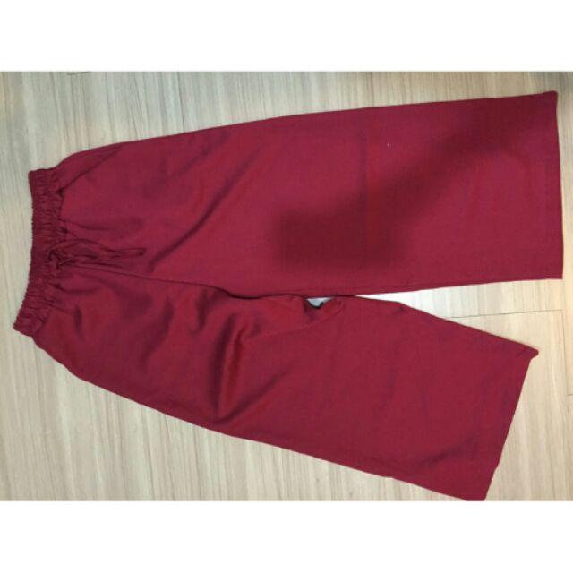 全新✨大紅色寬褲