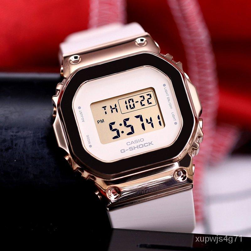 FEIe 卡西歐手錶女G-SHOCK新復古金屬防水小方塊金色GM-S5600PG-1/4/7P