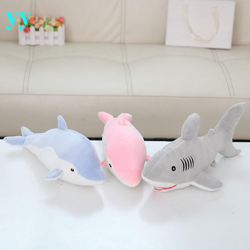 【台灣出貨-兒童節禮物】小鯊魚海豚抱枕毛絨玩具羽絨棉布娃娃軟體魚類玩偶兒童節禮物男孩