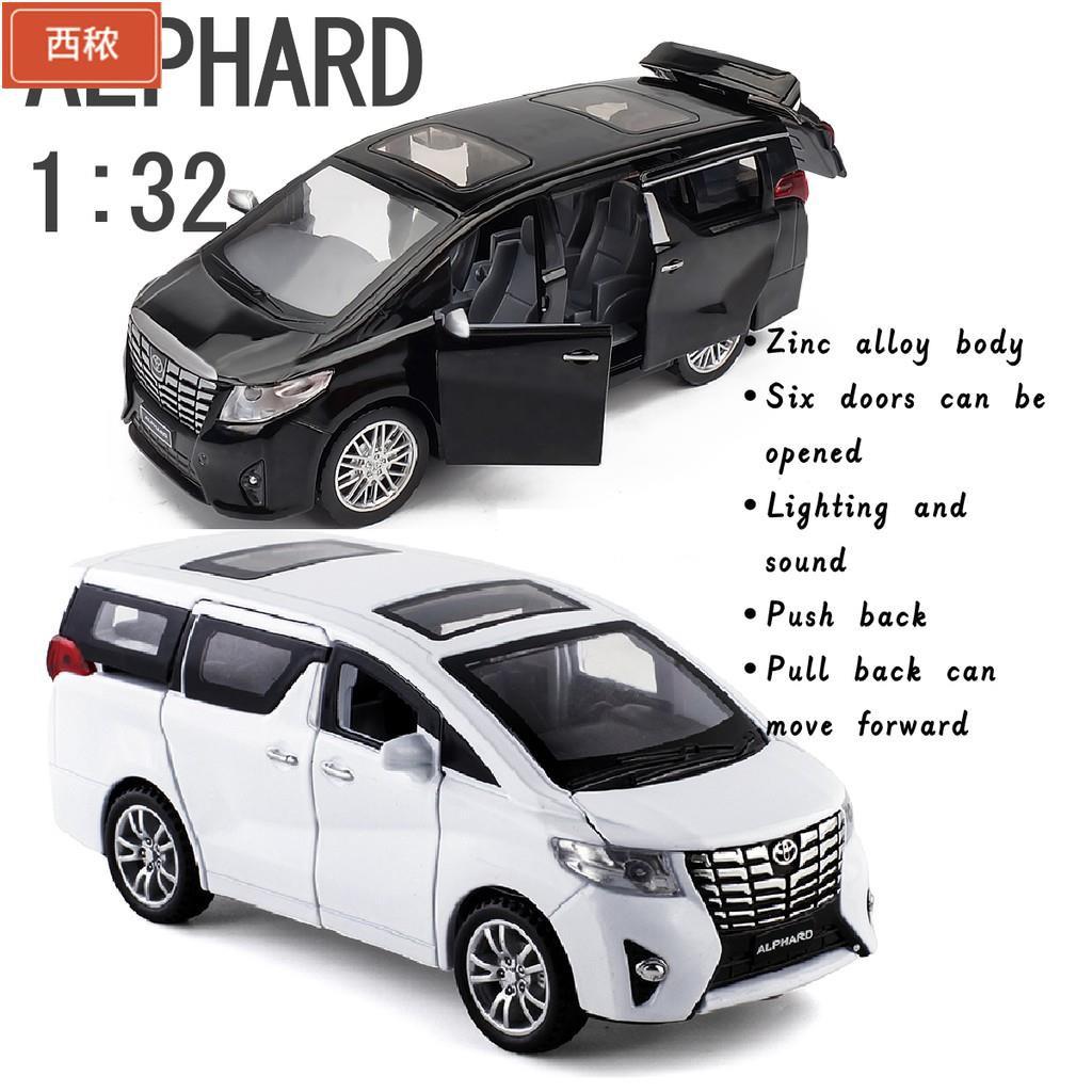 【现货免運】1: 32 豐田 Alphard 汽車模型聲光迴力車模型 6 門可打開合金車兒童玩具車禮品盒🔥西秾雜貨🔥