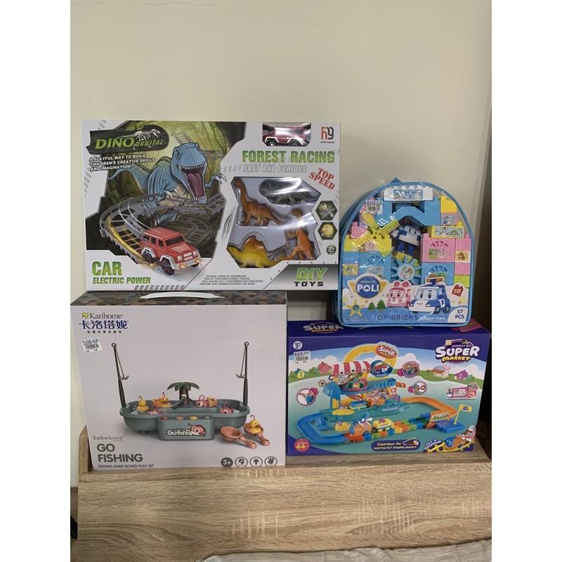 恐龍軌道車 叢林探險釣魚組 好奇波力趣味積木 購物超市電動車