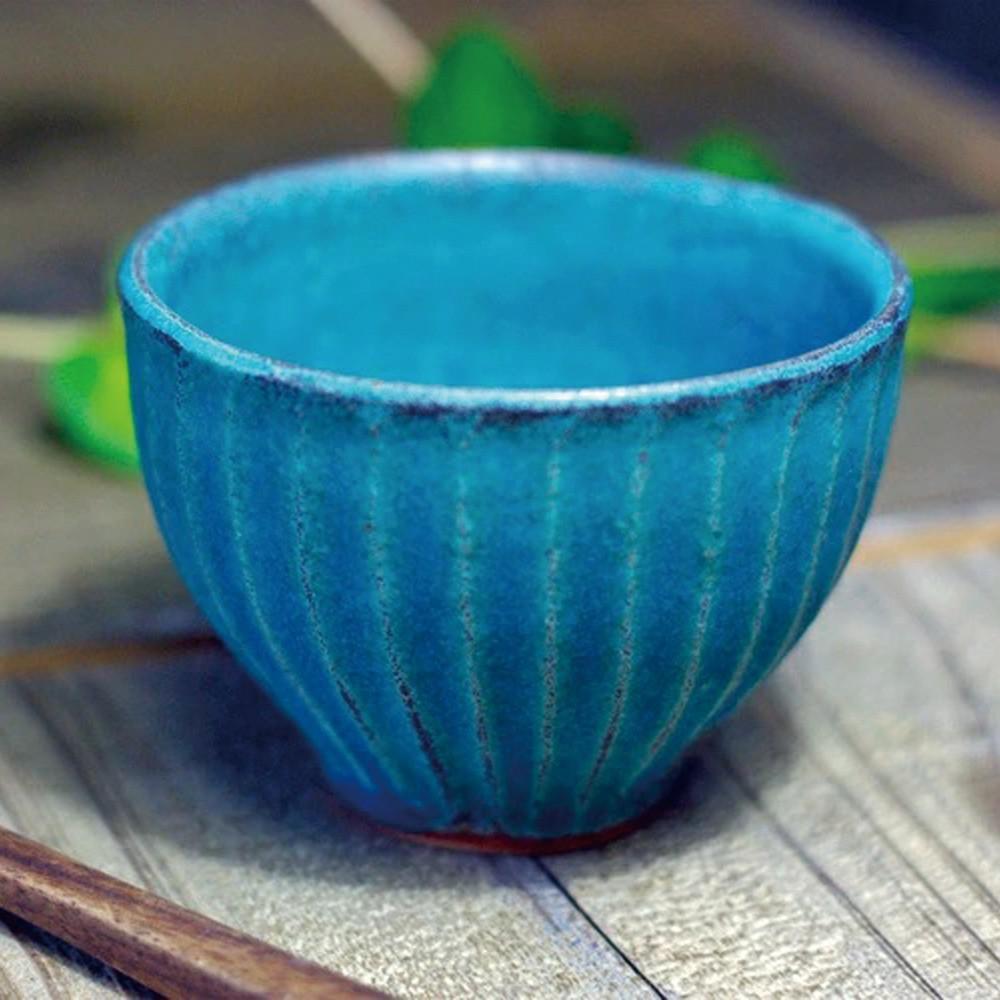 【現貨】日本益子燒 - 青綠燻刻紋茶杯 -《日本原裝進口》