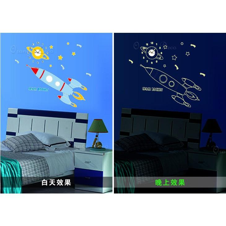 【橘果設計】夜光效果火箭 靜音壁貼時鐘 不傷牆設計 牆貼 壁紙裝潢