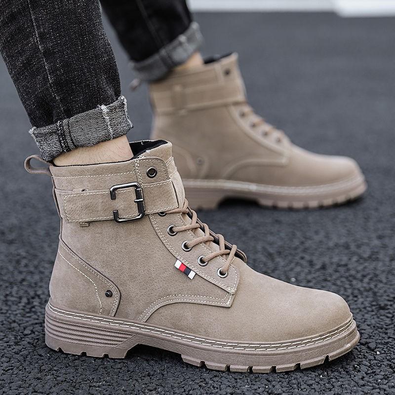 衣-夜傾情 馬丁靴男士工裝靴軍靴英倫風復古中幫男靴子秋季高幫男鞋雪地短靴