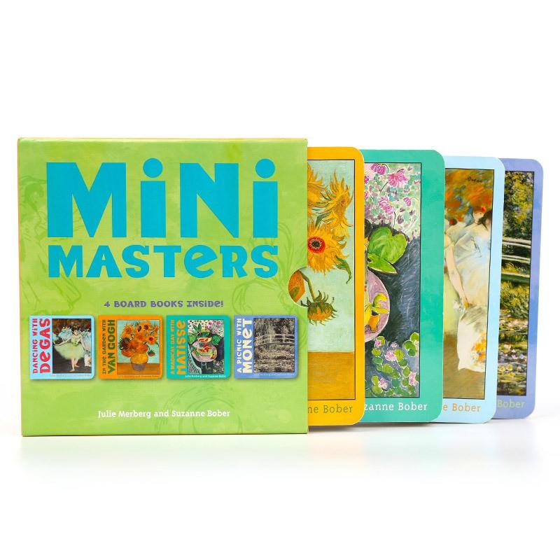 原版進口 小小藝術大師整裝4冊紙板書 藝術啟蒙英語認知 童書繪本
