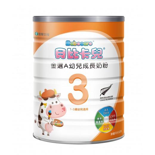 貝比卡兒金選A幼兒成長奶粉(幼兒香草3號)-900G【富康活力藥局】