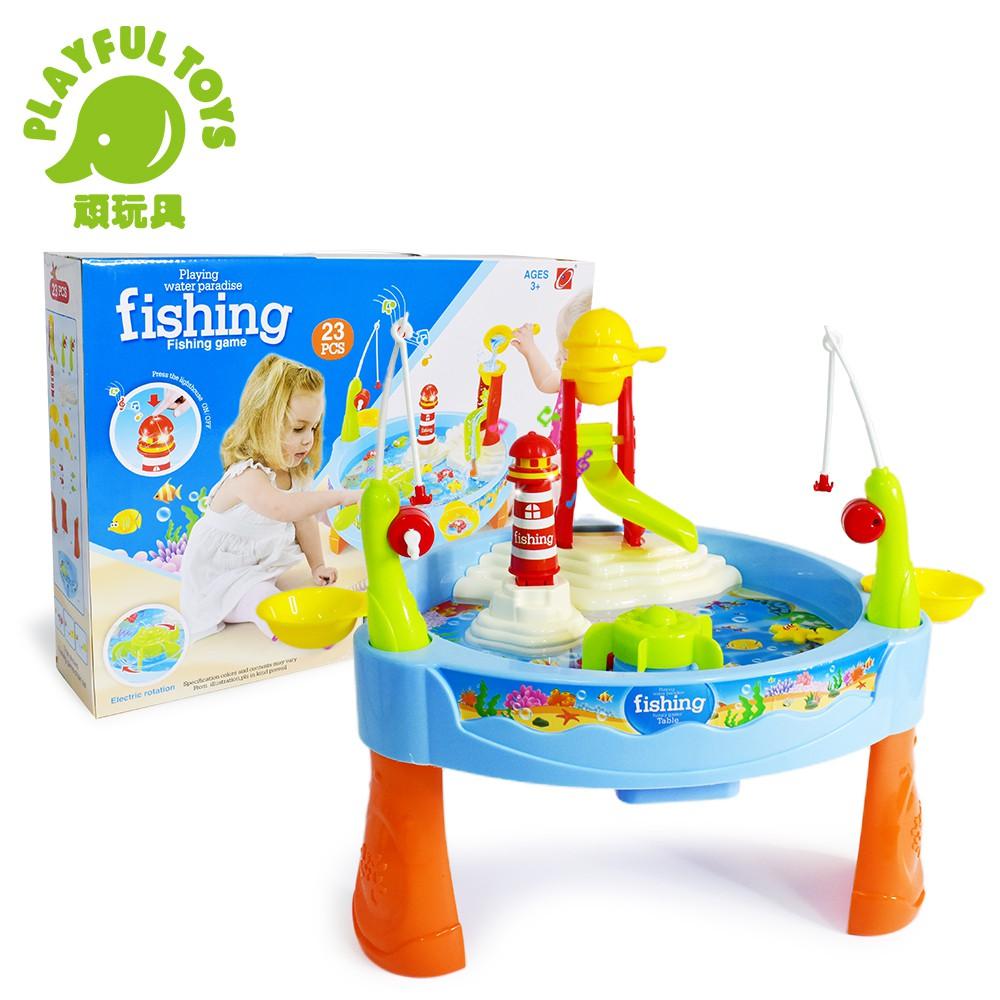 【Playful Toys 頑玩具】電動戲水釣魚 (聲光益智 電動旋轉 夏日戲水 親子互動 撈魚玩具 捕魚遊戲)