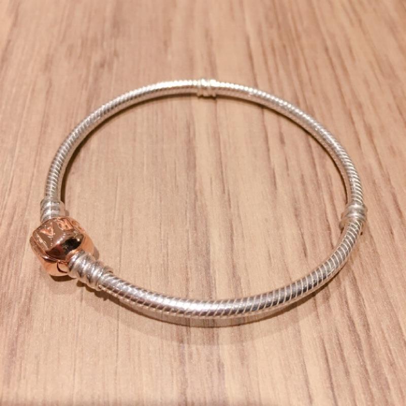 【二手】Pandora 潘朵拉 硬手環 玫瑰金釦頭手鍊