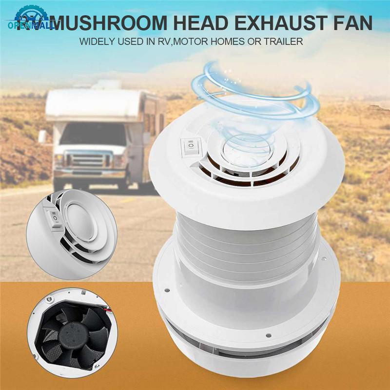 12V蘑菇頭換氣口排風扇 12V RV風扇屋頂通風孔 白色風扇 旅行拖車貨車冷卻露營車靜音風扇 大篷車配件
