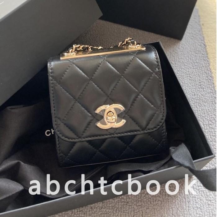 【婷婷二手正品】Chanel 香奈兒Mini Trendy WOC 羊皮菱格 紋 小方包 鏈條包 A81633(實拍)