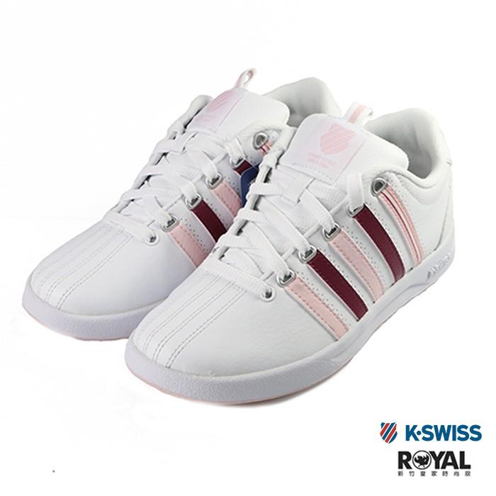 K-swiss 新竹皇家 Court 白色 皮質 粉色線條 休閒鞋 女款 NO.I9642