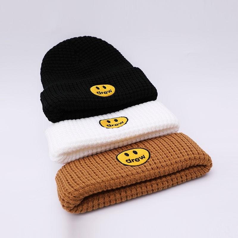 男生女生休閒冬帽 Drew House 黑白咖啡色 針織帽 笑臉刺繡 賈斯丁比伯同款 無檐帽
