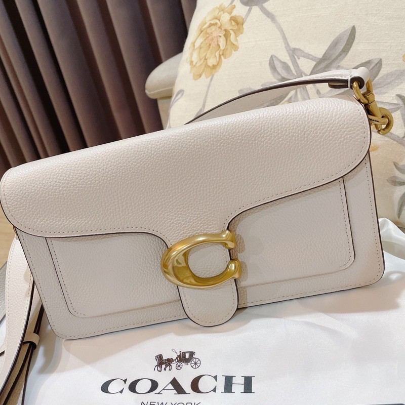 專櫃購證COACH TABBY 26 拋光皮革單肩手袋 粉筆白色 B4EB1 手提斜背包 兩用包 專櫃購入 全新未使用