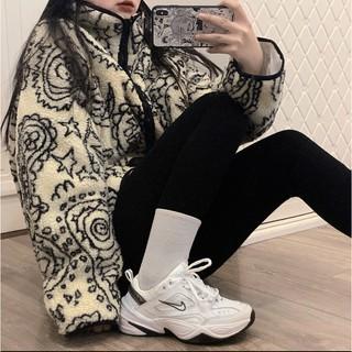 HeyWorld 韓國鬼馬印花長袖棉衣棉服+打底褲 羊羔毛棉服外套 寬松立領開衫拉鏈外套 毛料外套 長袖外套 冬季外套