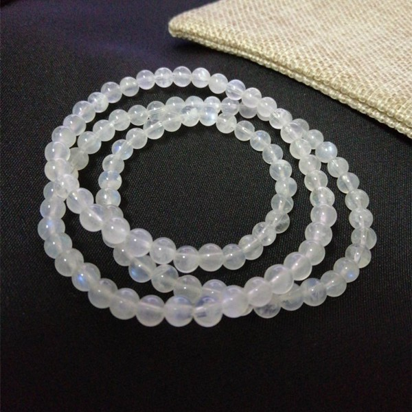 現貨 天然藍月光手鍊 奶油體 5.3mm 月光石手鍊3圈多圈 水晶手鍊 串珠項鍊 圓珠手珠【小玲唲】