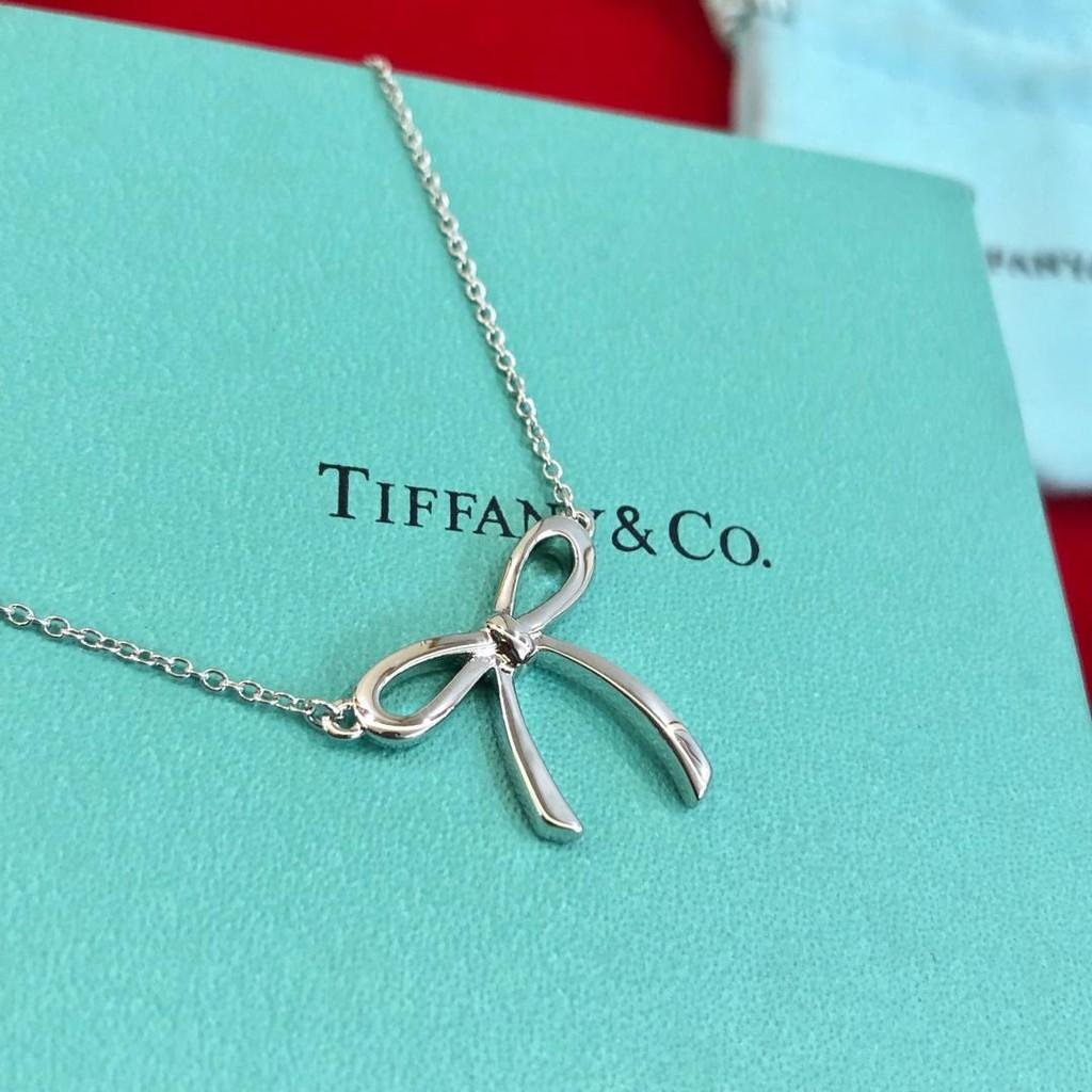 Tiffany&Co蝴蝶結女士 蒂芙尼 項鍊 簡約風格  支持驗貨