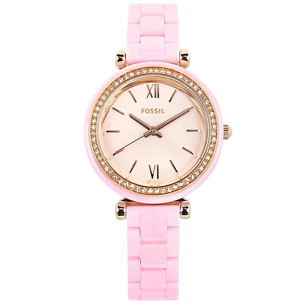 FOSSIL Carlie 細緻典雅 晶鑽錶圈 陶瓷手錶 粉x玫瑰金框 CE1106 30mm 廠商直送 現貨