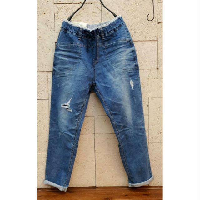 【檸檬樹雜貨屋】全新 正韓 YANU 條紋鬆緊腰帶微刷破彈性牛仔褲