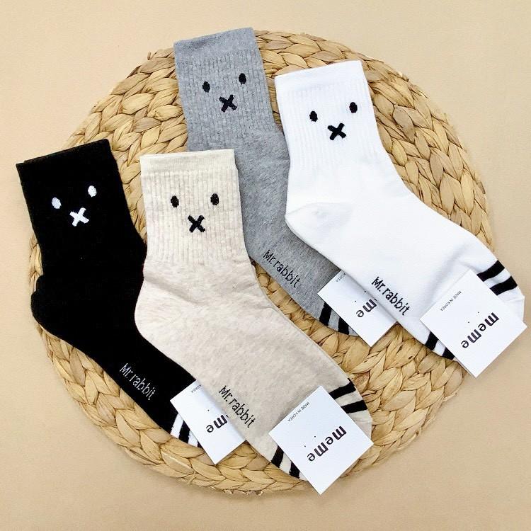 韓國襪子 女襪 熊熊襪子 長筒襪 表情包 泰迪熊襪