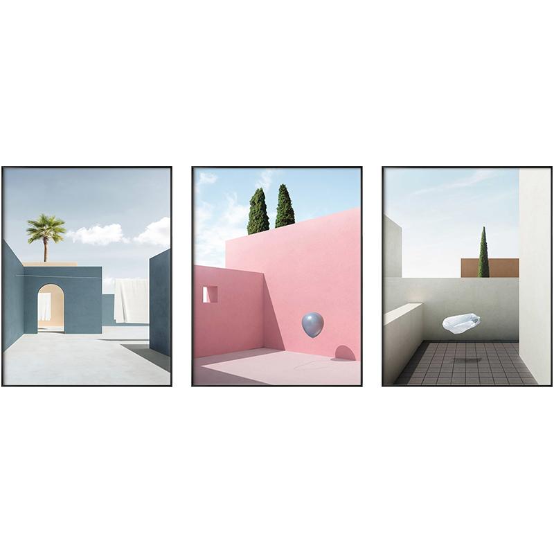 #藝術#北歐現代簡約客廳裝飾畫北歐風幾何建筑玄關餐廳掛畫輕奢臥室床頭壁畫