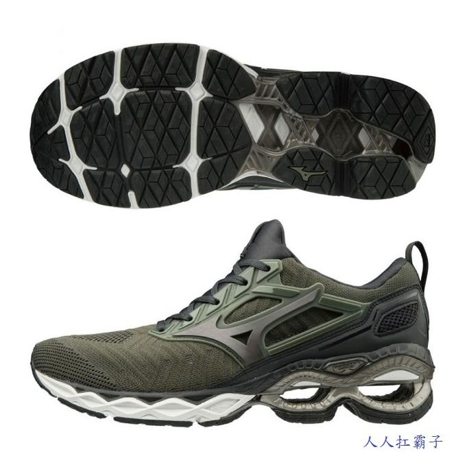 限時下殺6.9折 MIZUNO(男)慢跑鞋WAVE CREATION WAVEKNIT運動鞋 J1GC193358 軍綠