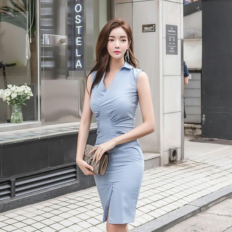 獨特設計不對稱縮皺無袖上班族洋裝 顯身材洋裝 短洋 office lady女生 開叉OL洋裝