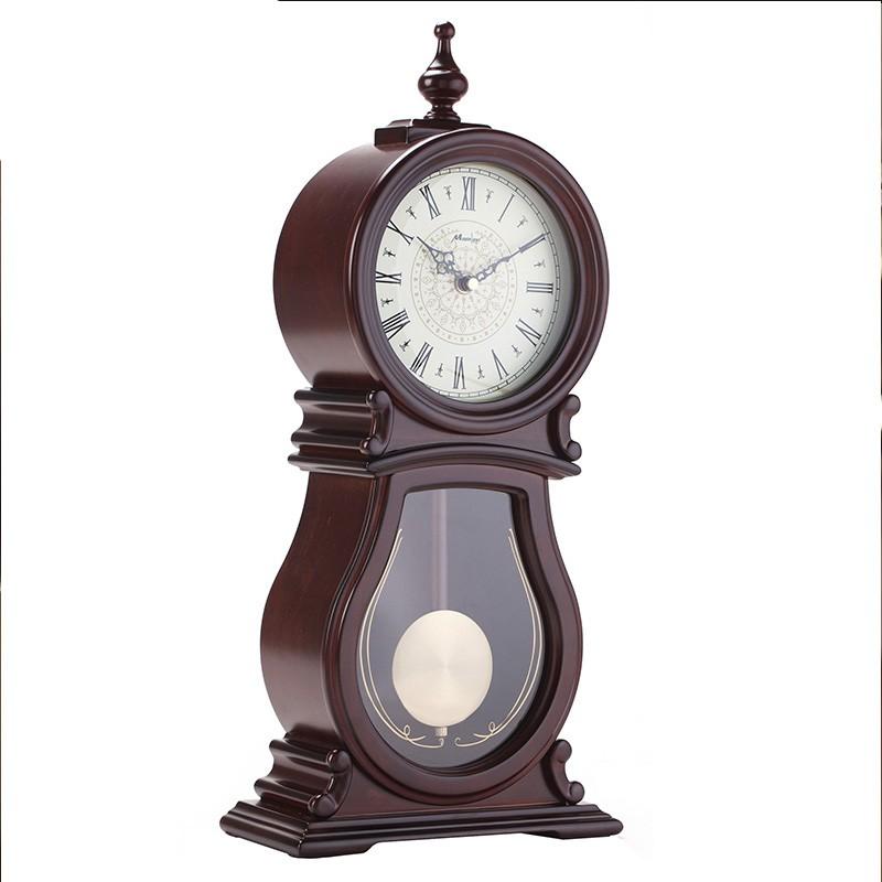5Cgo 楓葉鐘表擺件仿古鐘座鐘客廳中式老式坐鐘歐式復古麗聲機芯大號臺鐘時鐘裝飾擺設含稅 43811081403