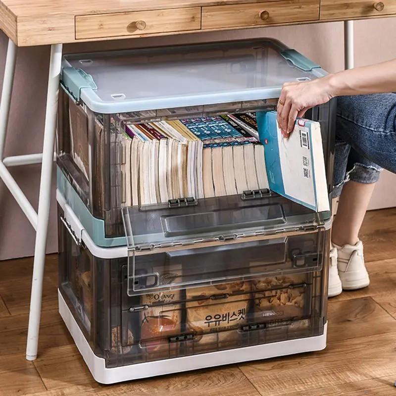 ✇♥fend♥◎精品好貨系列 折疊收納箱 下掀式側開貨櫃箱 大號 帶蓋 手提帶滑輪 塑料 臥室客廳車載儲物盒透明整理箱前