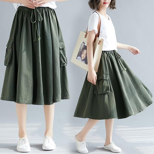 半身裙 長裙 傘裙 長裙 M-3XL新款胖MM加大碼200斤工裝半身裙MD009B-5198-5.胖胖美依