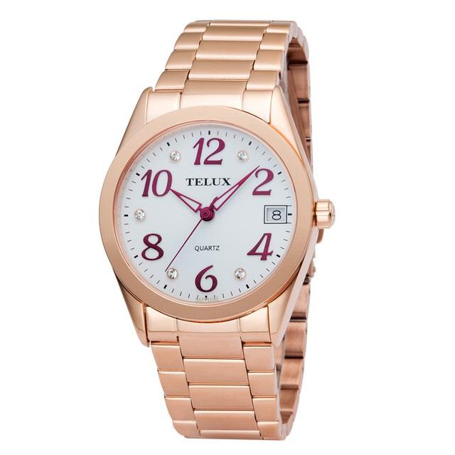 台灣品牌手錶腕錶【TELUX鐵力士】暮光系列女腕錶手錶34MM台灣製造石英錶7002LGRG-W30玫瑰金剛帶
